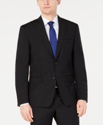 Men's Modern-Fit Stretch Black Solid Suit Jacket