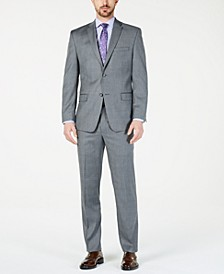 by Andrew Marc Men's Modern-Fit Stretch Charcoal/Blue Glen Plaid Suit