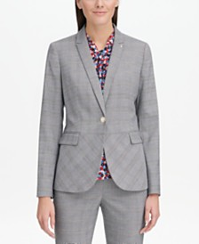 Tommy Hilfiger One-Button Plaid Blazer