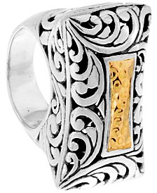 Bali Heritage Signature Carving Hamerred Sterling Silver Ring embellished by 18K Gold Accents