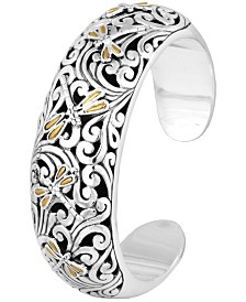 Sweet Dragonfly Classic Sterling Silver Cuff embellished by 18K Gold Accents on 4 strips of Dragonfly's Wings