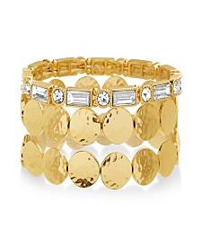 Catherine Malandrino Women's White Rhinestone And Round Disc Yellow Gold-Tone Trio Stretch Bracelet Set