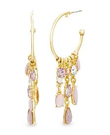 Catherine Malandrino Women's Pink And White Rhinestone Link Ball End Yellow Gold-Tone Hoop Earrings