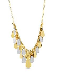 Catherine Malandrino Women's 2-Tone Hammered Triangle Dangle Yellow Gold-Tone And Silver-Tone Bib Chain Necklace