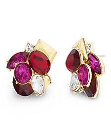 Catherine Malandrino Women's Red, Hot Pink, White Rhinestone Clustered Yellow Gold-Tone Post Earrings