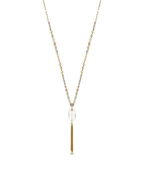 Catherine Malandrino Women's Simulated Quartz Bead Yellow Gold-Tone Tassel Chain Necklace