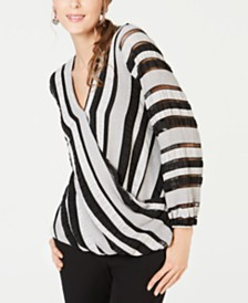 Alfani Textured Surplice-Front Top, Created for Macy's