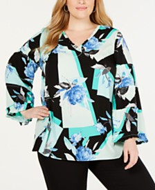 Alfani Plus Size Printed Ruffle-Trim Blouse, Created for Macy's