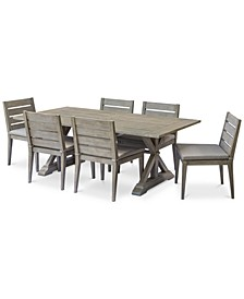 "Hadley Outdoor 7-Pc. Dining Set (84"" x 42"" Dining Farm Table & 6 Dining Chairs) with Sunbrella® Cushions, Created For Macy's"