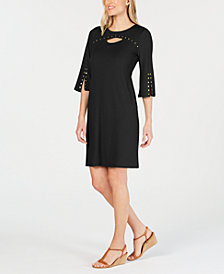 JM Collection Petite Studded Keyhole Dress, Created for Macy's