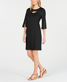 JM Collection Stud-Trimmed Peekaboo Dress, Created for Macy's