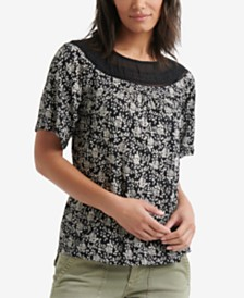 Lucky Brand Mixed-Knit Woven Printed Top