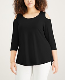JM Collection Plus Size Cold-Shoulder Top, Created for Macy's