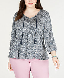 Style & Co. Plus Size Split-Neck Babydoll Top, Created for Macy's