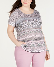 Style & Co Plus Size Printed T-Shirt, Created for Macy's
