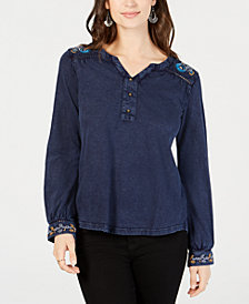 Style & Co Embroidery-Trimmed Cotton Denim Shirt, Created for Macy's