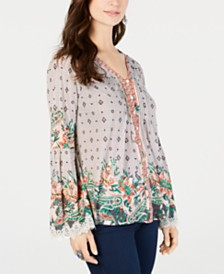 Style & Co Border-Print V-Neck Top, Created for Macy's