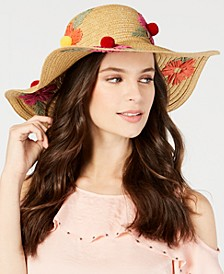 Floral Bliss Pom Pom Floppy Hat