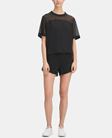 DKNY Sport Mesh-Blocked Top, Created for Macy's