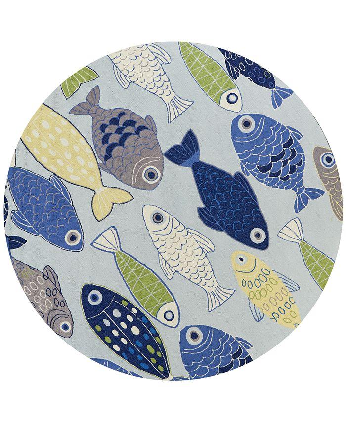 "Kas - Sonesta Sea of Fish 2010 Light Blue 7'6"" Round Area Rug"
