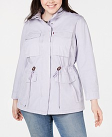 Trendy Plus Size  Cotton Utility Jacket