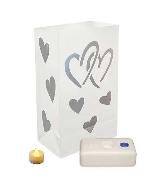 JH Specialties Inc/Lumabase Lumabase Set of 12 Hearts Battery Operated LED Luminaria Kit
