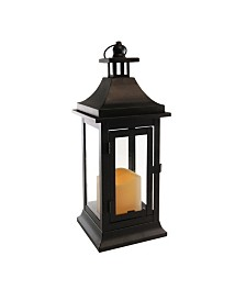 Lumabase Matte Black Small Classic Metal Lantern with LED Candle