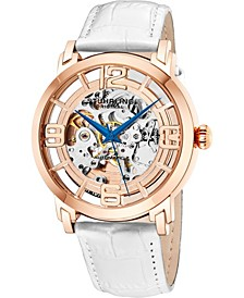 Original Stainless Steel Rose Tone Case on White Alligator Embossed Genuine Leather Strap, Rose Tone Dial, With Blue Accents