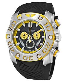 Original Stainless Steel Case, Black Dial, Stainless Steel and Yellow Bezel, and Black High Grade Silicon Rubber Strap