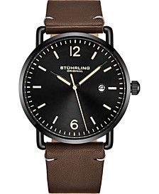 Original Men's Black Case, Black Dial, Brown Leather Strap Watc