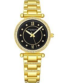 Stuhrling Original Women's Crystal Studded Gold-Tone Case and Bracelet, Black Dial Watch