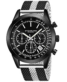 Stuhrling Original Men's Quartz Chronograph Date Watch, Rose Tone Alloy Case, Silver Dial, Rose and Silver Tone Stainless Steel Mesh Bracelet