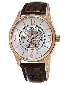 Stuhrling Original Men's Skeleton Automatic Watch, Rose Tone Case on Brown Alligator Embossed Genuine Leather Strap, Silver Tone Skeletonized Dial, With Rose Tone Accents
