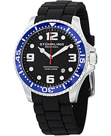 Stuhrling Original Stainless Steel Case on Black High Grade Silicone Rubber Interchangeable Strap Watch