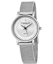 Original Stainless Steel Case on Mesh Bracelet, Silver Dial, With Black Accents, and Diamond At 12
