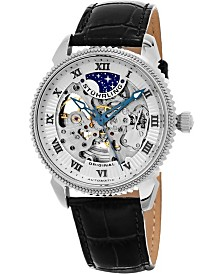Stuhrling Original Men's Automatic Skeleton Watch, Silver Tone Case on Black Alligator Embossed Genuine Leather Strap, Silver Tone Skeletonized Dial, With Black and Blue Accents