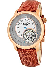 Stuhrling Original Men's Mechanical Tourbillon Watch, Rose Gold Stainless Steel Case, Grey Meteorite Dial, Cocoa Brown Genuine Lizard Strap