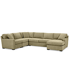 Radley 5-Pc. Fabric Chaise Sectional Sofa with Corner Piece - Custom Colors, Created for Macy's