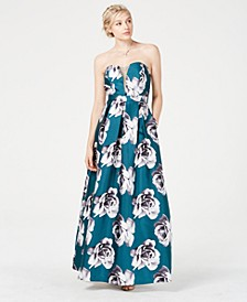 Juniors' Floral-Print Strapless Gown