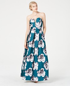 Speechless Juniors' Floral-Print Strapless Gown