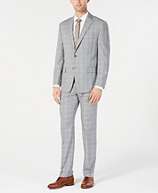Men's Classic-Fit Light Gray/Light Blue Plaid Suit Separates