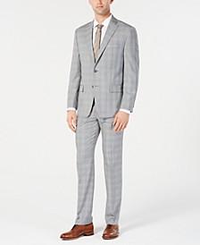 Men's Classic-Fit Light Gray/Light Blue Plaid Suit Separates