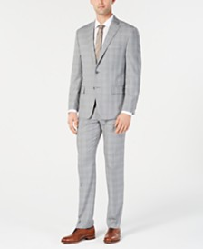 Michael Kors Men's Classic-Fit Light Gray/Light Blue Plaid Suit Separates