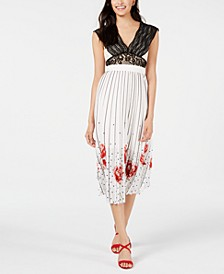 Crochet Lace & Pleated Printed Midi Dress