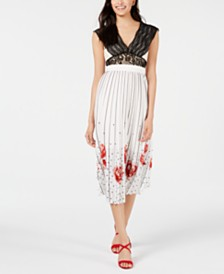 foxiedox Crochet Lace & Pleated Printed Midi Dress