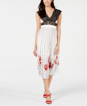 Foxiedox Dresses FOXIEDOX CROCHET LACE & PLEATED PRINTED MIDI DRESS