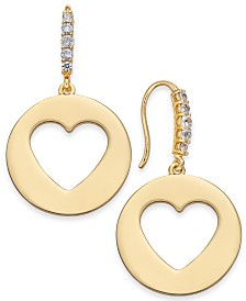 Kate Spade New York  Gold-Tone Heart Drop Earrings