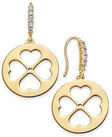 kate spade new york Gold-Tone Clover Drop Earrings
