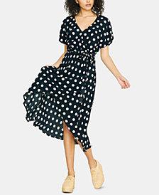 Sanctuary Polka-Dot Faux-Wrap Midi Dress