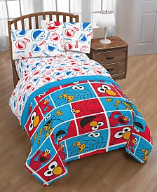 Sesame Street Elmo Cookie Squares Twin Bed in  a bag